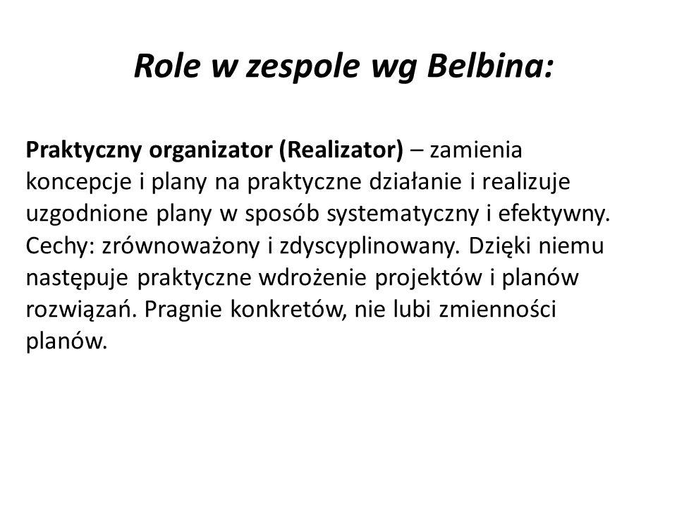 Role w zespole wg Belbina: Praktyczny organizator (Realizator) – zamienia koncepcje i plany na praktyczne działanie i realizuje uzgodnione plany w sposób systematyczny i efektywny.