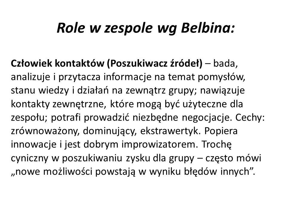 Role w zespole wg Belbina: Człowiek kontaktów (Poszukiwacz źródeł) – bada, analizuje i przytacza informacje na temat pomysłów, stanu wiedzy i działań na zewnątrz grupy; nawiązuje kontakty zewnętrzne, które mogą być użyteczne dla zespołu; potrafi prowadzić niezbędne negocjacje.