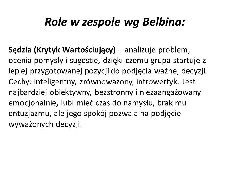 Role w zespole wg Belbina: Sędzia (Krytyk Wartościujący) – analizuje problem, ocenia pomysły i sugestie, dzięki czemu grupa startuje z lepiej przygotowanej pozycji do podjęcia ważnej decyzji.