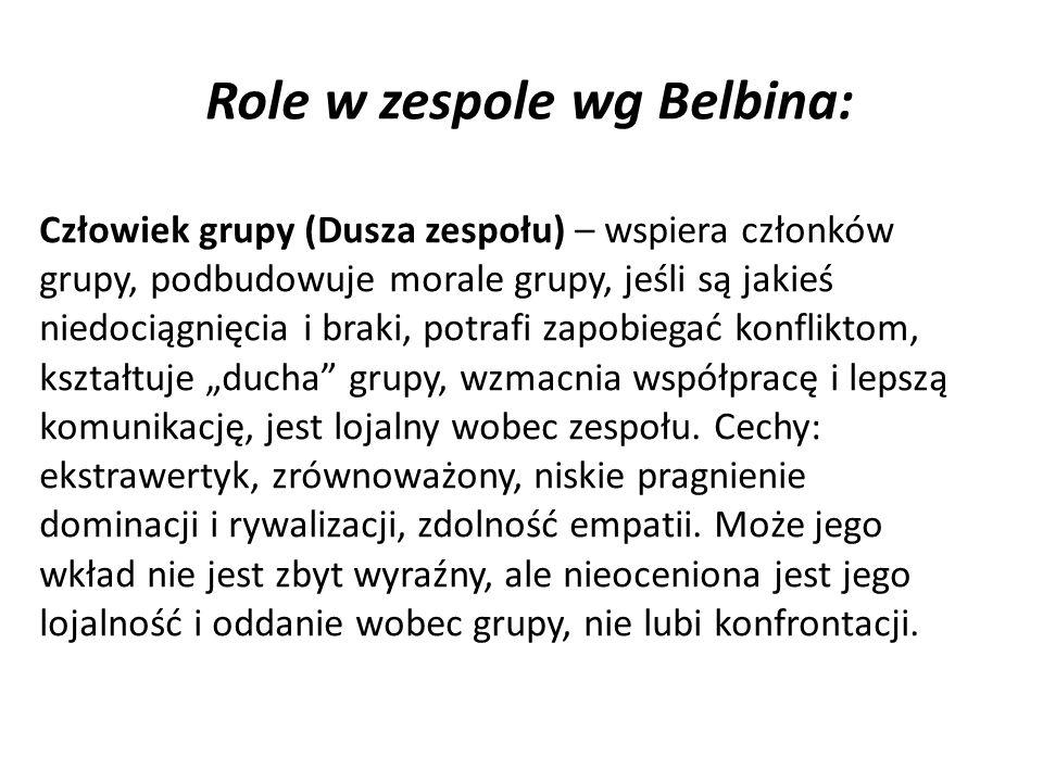 Role w zespole wg Belbina: Człowiek grupy (Dusza zespołu) – wspiera członków grupy, podbudowuje morale grupy, jeśli są jakieś niedociągnięcia i braki, potrafi zapobiegać konfliktom, kształtuje ducha grupy, wzmacnia współpracę i lepszą komunikację, jest lojalny wobec zespołu.
