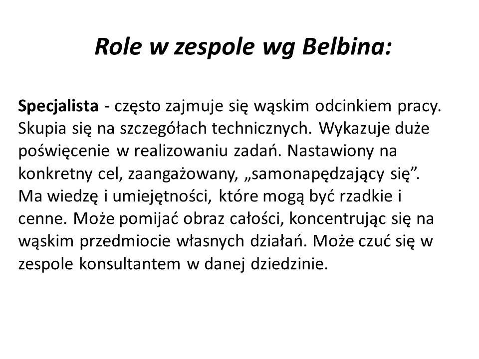 Role w zespole wg Belbina: Specjalista - często zajmuje się wąskim odcinkiem pracy.