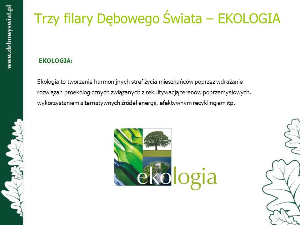 Trzy filary Dębowego Świata – EKOLOGIA EKOLOGIA: Ekologia to tworzenie harmonijnych stref życia mieszkańców poprzez wdrażanie rozwiązań proekologiczny