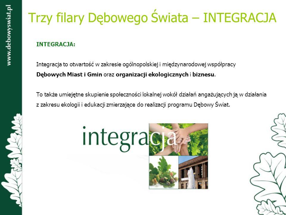 Trzy filary Dębowego Świata – INTEGRACJA INTEGRACJA: Integracja to otwartość w zakresie ogólnopolskiej i międzynarodowej współpracy Dębowych Miast i G