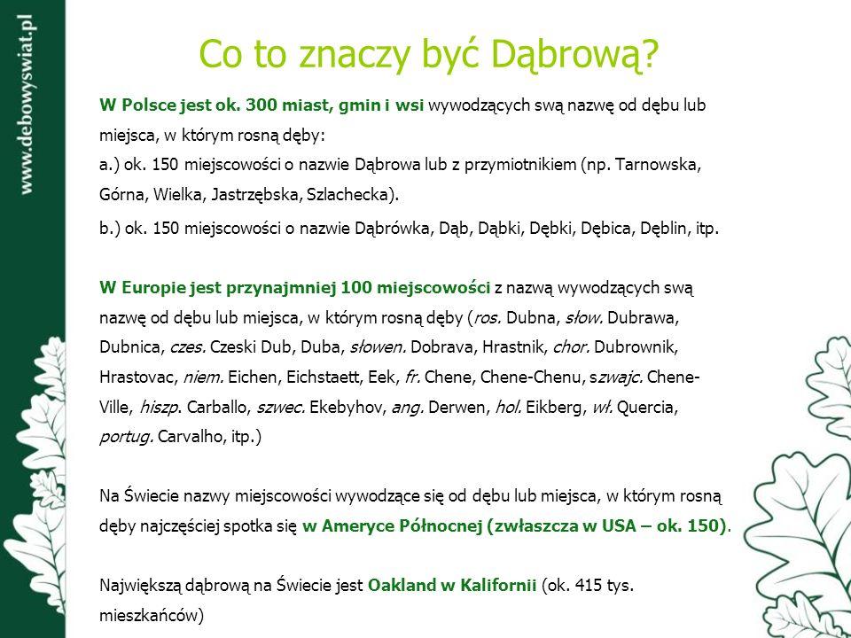 Co to znaczy być Dąbrową? W Polsce jest ok. 300 miast, gmin i wsi wywodzących swą nazwę od dębu lub miejsca, w którym rosną dęby: a.) ok. 150 miejscow