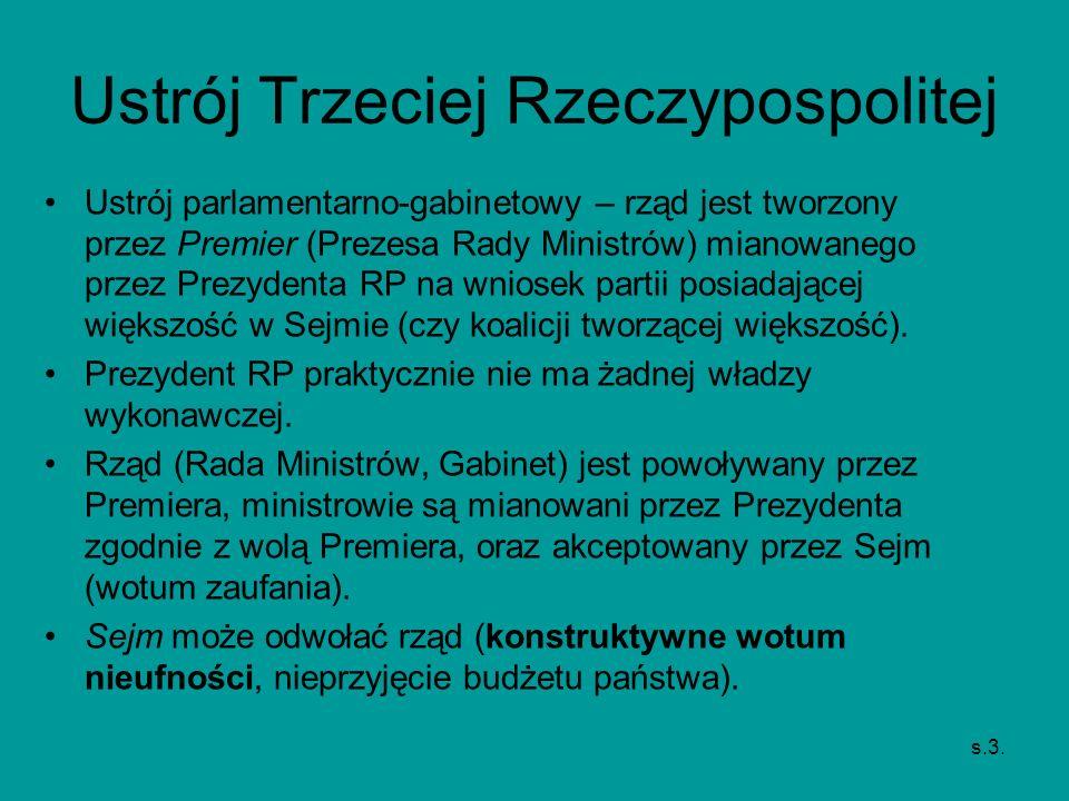 Ustrój Trzeciej Rzeczypospolitej Ustrój parlamentarno-gabinetowy – rząd jest tworzony przez Premier (Prezesa Rady Ministrów) mianowanego przez Prezyde