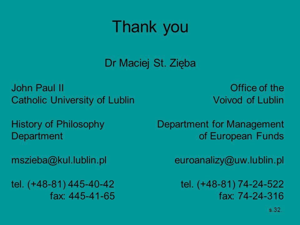 s.32. Thank you Dr Maciej St. Zięba John Paul II Catholic University of Lublin History of Philosophy Department mszieba@kul.lublin.pl tel. (+48-81) 44