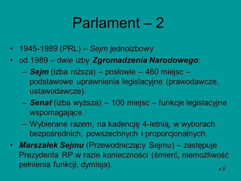 Parlament – 2 1945-1989 (PRL) – Sejm jednoizbowy od 1989 – dwie izby Zgromadzenia Narodowego: –Sejm (izba niższa) – posłowie – 460 miejsc – podstawowe