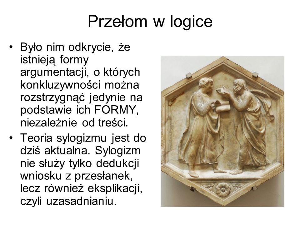 Przełom w logice Było nim odkrycie, że istnieją formy argumentacji, o których konkluzywności można rozstrzygnąć jedynie na podstawie ich FORMY, niezal