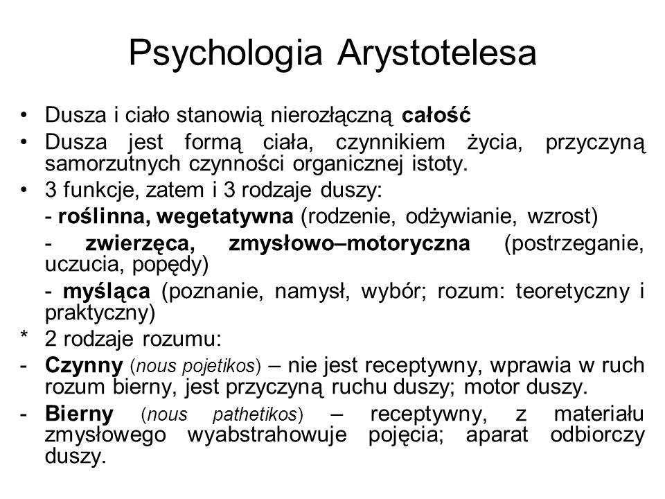 Psychologia Arystotelesa Dusza i ciało stanowią nierozłączną całość Dusza jest formą ciała, czynnikiem życia, przyczyną samorzutnych czynności organic