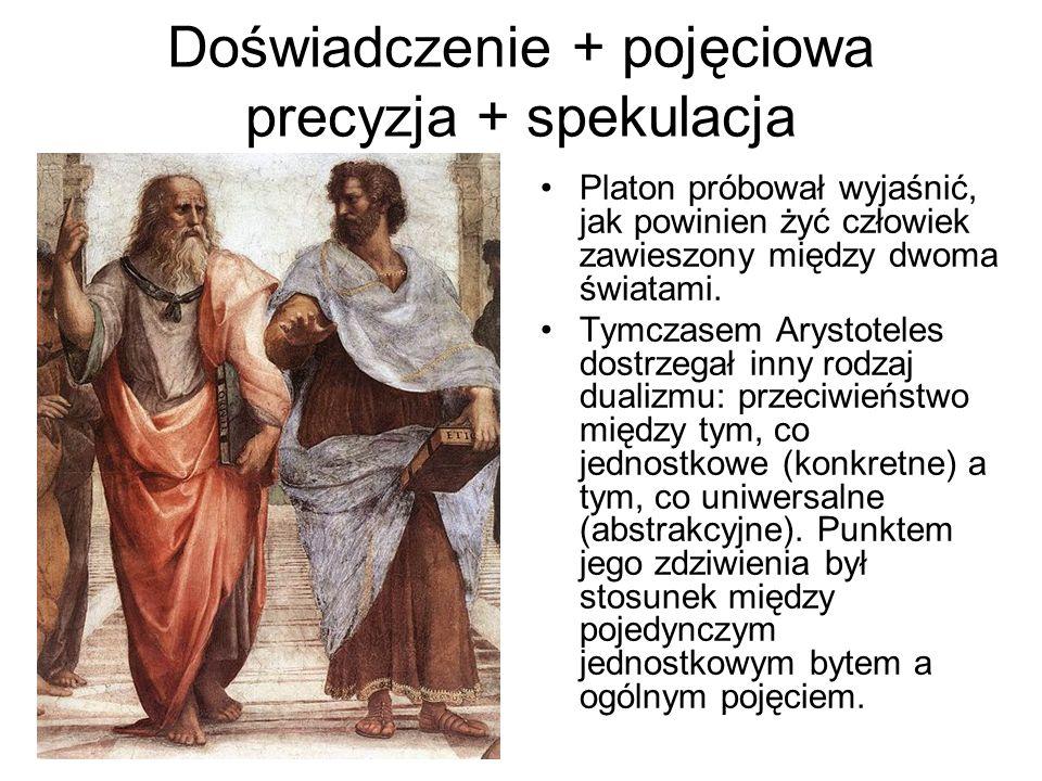 Doświadczenie + pojęciowa precyzja + spekulacja Platon próbował wyjaśnić, jak powinien żyć człowiek zawieszony między dwoma światami. Tymczasem Arysto