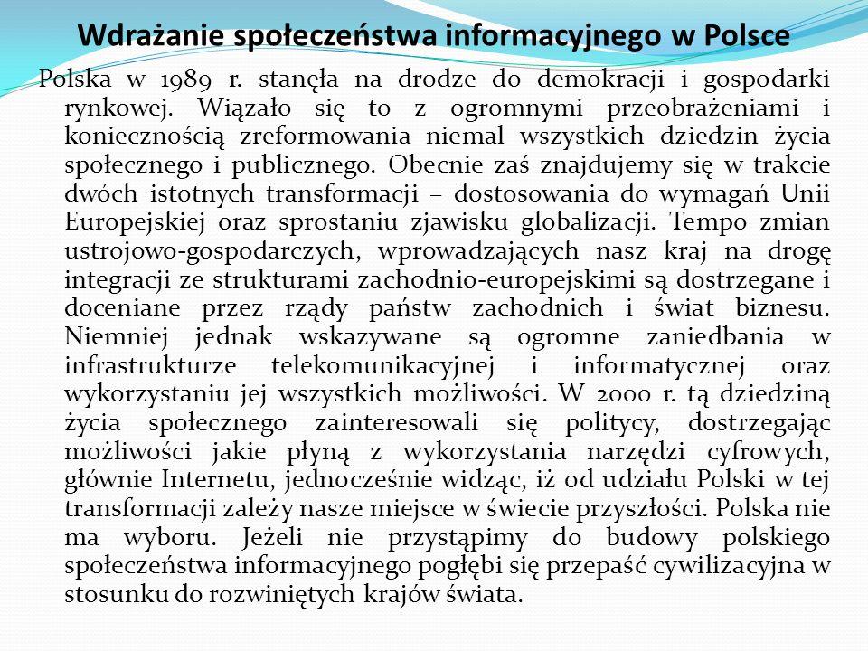 Wdrażanie społeczeństwa informacyjnego w Polsce Polska w 1989 r.