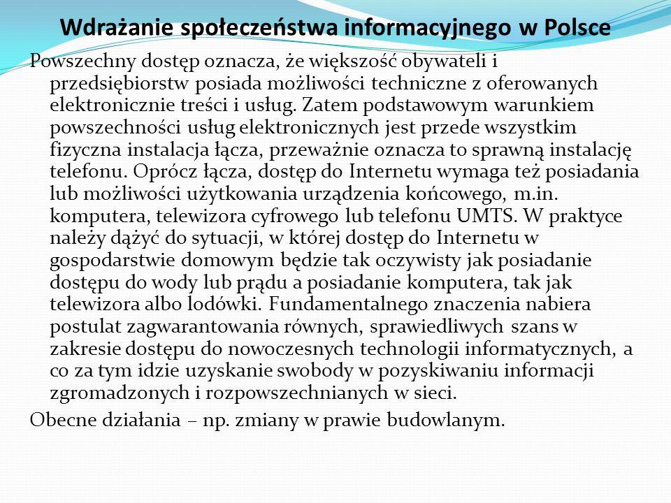 Wdrażanie społeczeństwa informacyjnego w Polsce Konstytucja RP w art.