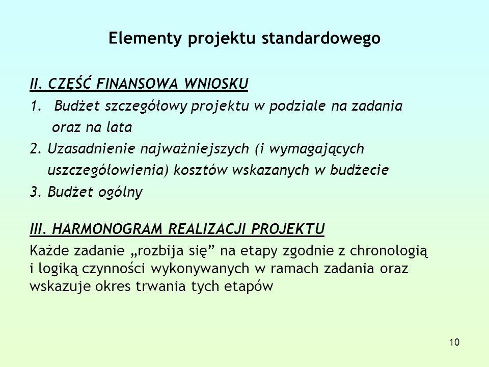 Elementy projektu standardowego II.