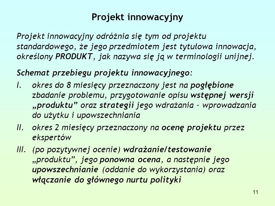 Projekt innowacyjny Projekt innowacyjny odróżnia się tym od projektu standardowego, że jego przedmiotem jest tytułowa innowacja, określony PRODUKT, jak nazywa się ją w terminologii unijnej.