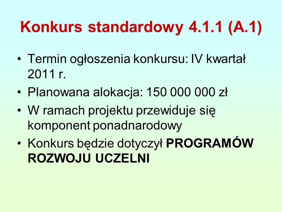 Konkurs standardowy 4.1.1 (A.1) Termin ogłoszenia konkursu: IV kwartał 2011 r.