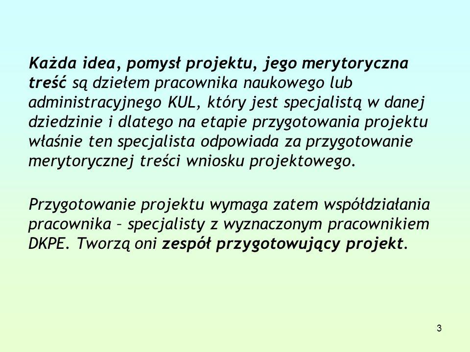 3 Każda idea, pomysł projektu, jego merytoryczna treść są dziełem pracownika naukowego lub administracyjnego KUL, który jest specjalistą w danej dziedzinie i dlatego na etapie przygotowania projektu właśnie ten specjalista odpowiada za przygotowanie merytorycznej treści wniosku projektowego.