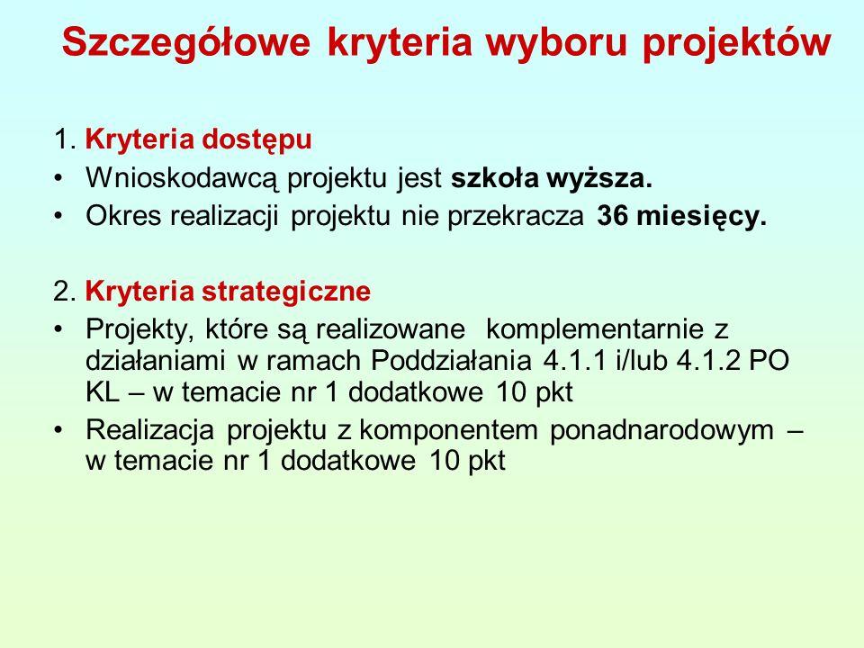Szczegółowe kryteria wyboru projektów 1. Kryteria dostępu Wnioskodawcą projektu jest szkoła wyższa.