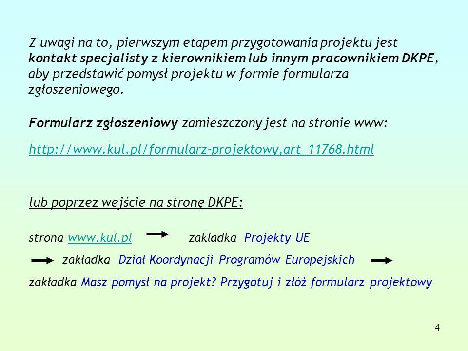 4 Z uwagi na to, pierwszym etapem przygotowania projektu jest kontakt specjalisty z kierownikiem lub innym pracownikiem DKPE, aby przedstawić pomysł projektu w formie formularza zgłoszeniowego.