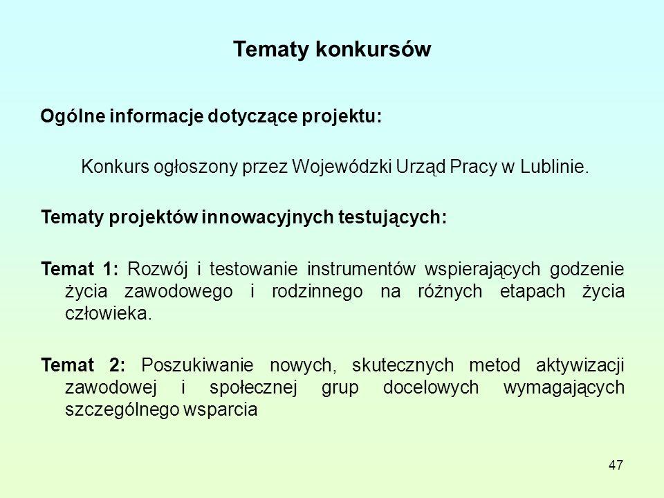 47 Tematy konkursów Ogólne informacje dotyczące projektu: Konkurs ogłoszony przez Wojewódzki Urząd Pracy w Lublinie.