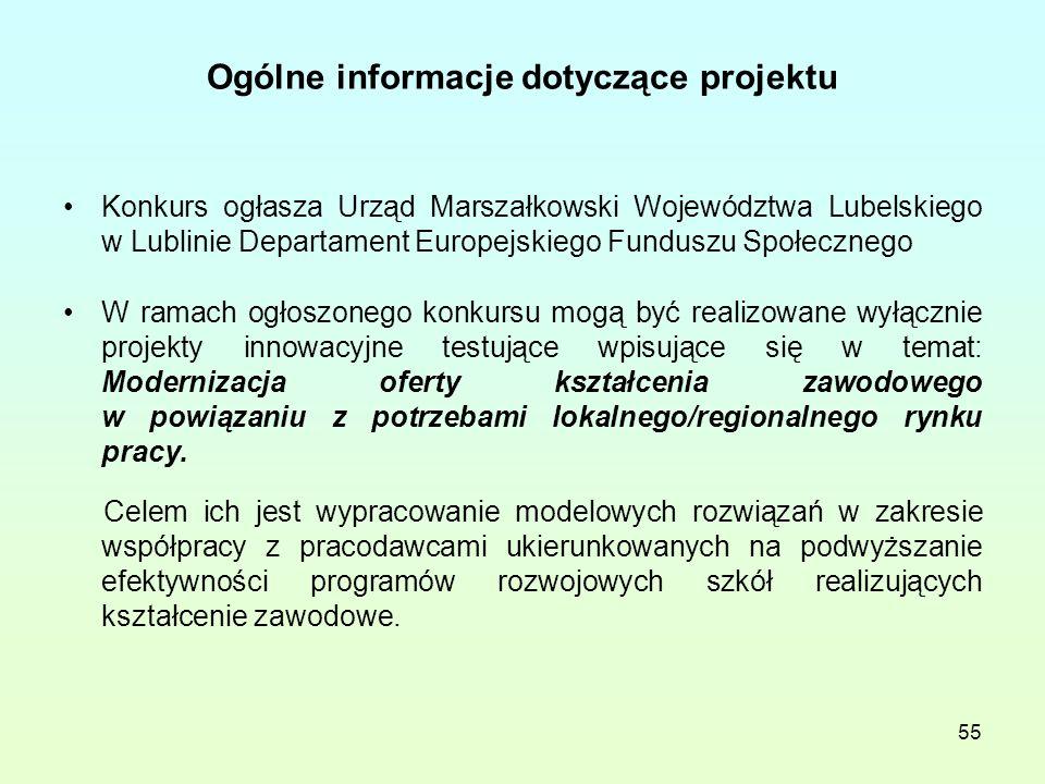 55 Ogólne informacje dotyczące projektu Konkurs ogłasza Urząd Marszałkowski Województwa Lubelskiego w Lublinie Departament Europejskiego Funduszu Społecznego W ramach ogłoszonego konkursu mogą być realizowane wyłącznie projekty innowacyjne testujące wpisujące się w temat: Modernizacja oferty kształcenia zawodowego w powiązaniu z potrzebami lokalnego/regionalnego rynku pracy.