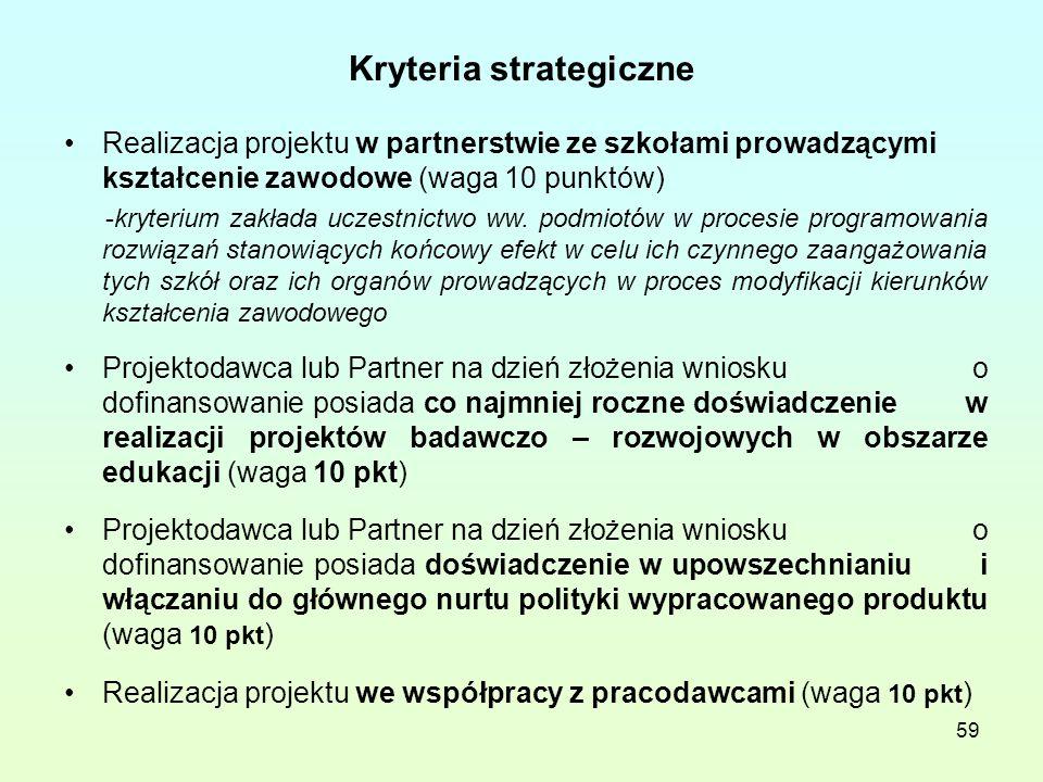 59 Kryteria strategiczne Realizacja projektu w partnerstwie ze szkołami prowadzącymi kształcenie zawodowe (waga 10 punktów) -kryterium zakłada uczestnictwo ww.