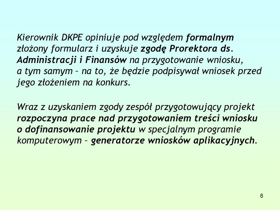 6 Kierownik DKPE opiniuje pod względem formalnym złożony formularz i uzyskuje zgodę Prorektora ds.