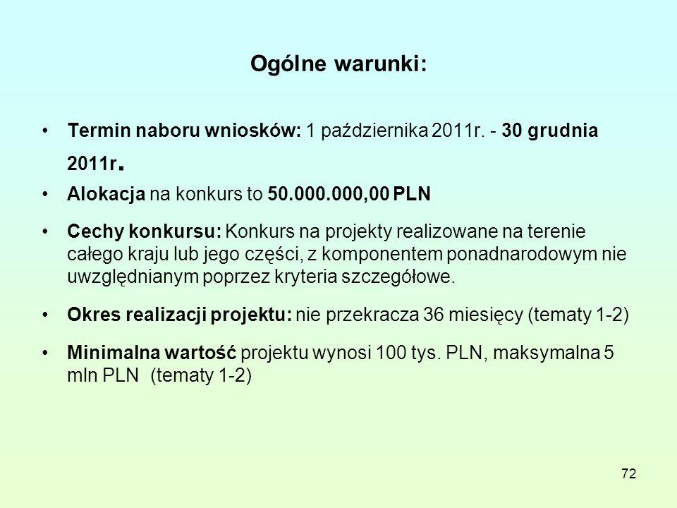 Ogólne warunki: Termin naboru wniosków: 1 października 2011r.