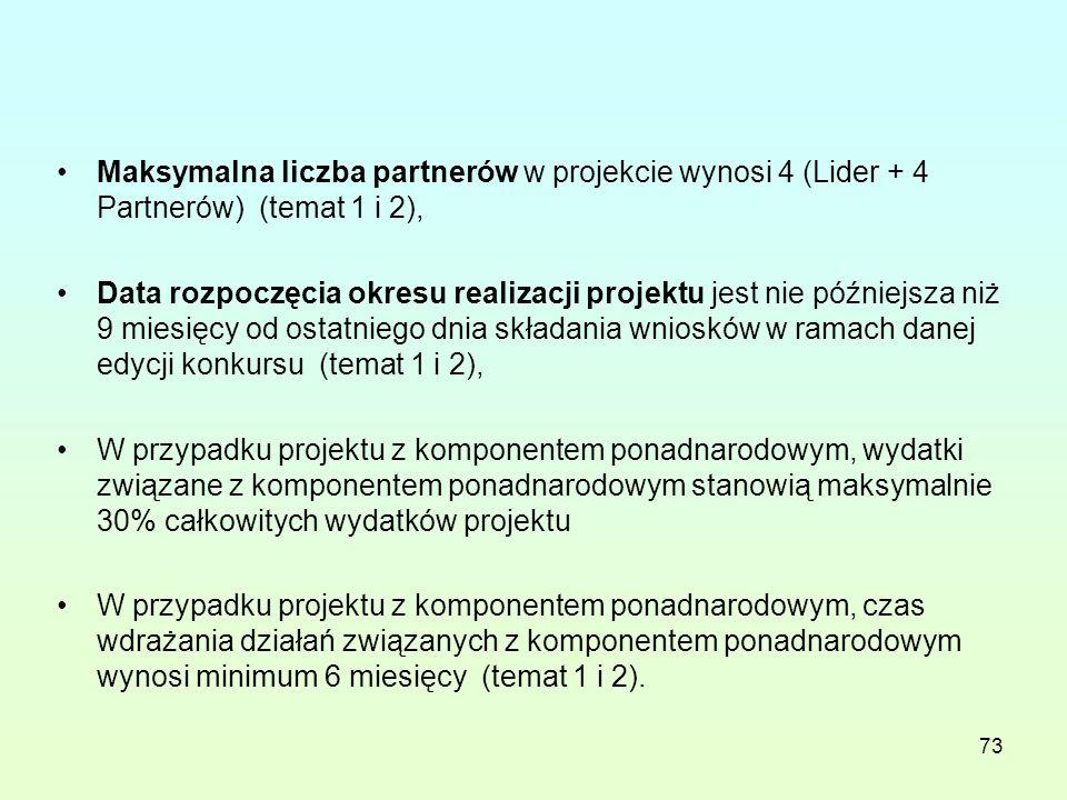 73 Maksymalna liczba partnerów w projekcie wynosi 4 (Lider + 4 Partnerów) (temat 1 i 2), Data rozpoczęcia okresu realizacji projektu jest nie późniejsza niż 9 miesięcy od ostatniego dnia składania wniosków w ramach danej edycji konkursu (temat 1 i 2), W przypadku projektu z komponentem ponadnarodowym, wydatki związane z komponentem ponadnarodowym stanowią maksymalnie 30% całkowitych wydatków projektu W przypadku projektu z komponentem ponadnarodowym, czas wdrażania działań związanych z komponentem ponadnarodowym wynosi minimum 6 miesięcy (temat 1 i 2).
