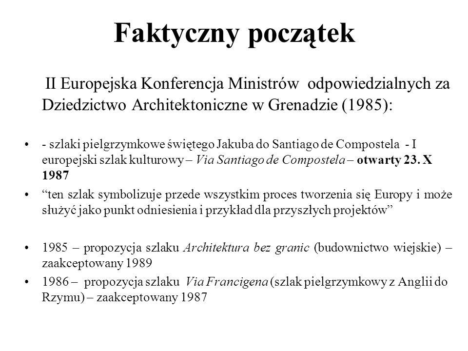 Faktyczny początek II Europejska Konferencja Ministrów odpowiedzialnych za Dziedzictwo Architektoniczne w Grenadzie (1985): - szlaki pielgrzymkowe świ