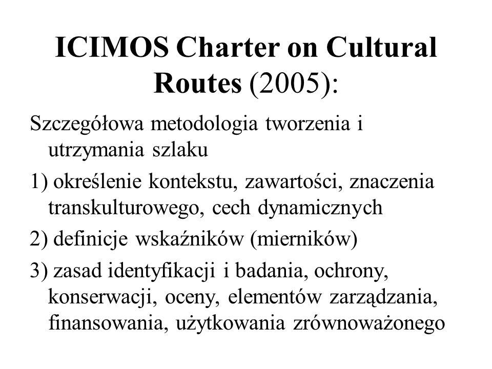 ICIMOS Charter on Cultural Routes (2005): Szczegółowa metodologia tworzenia i utrzymania szlaku 1) określenie kontekstu, zawartości, znaczenia transku