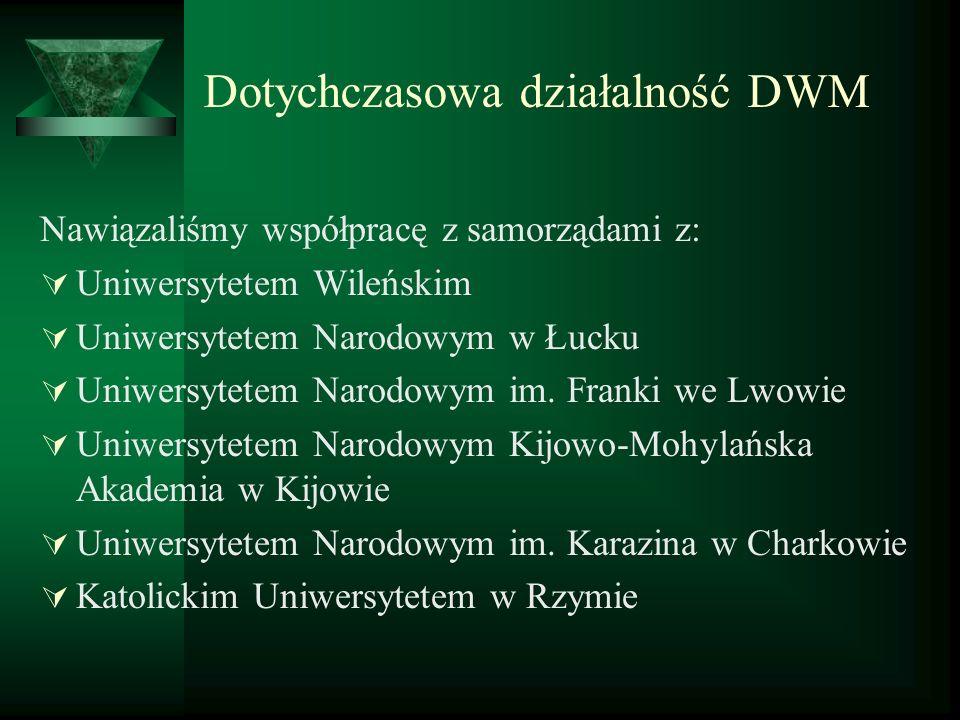 Dotychczasowa działalność DWM Nawiązaliśmy współpracę z samorządami z: Uniwersytetem Wileńskim Uniwersytetem Narodowym w Łucku Uniwersytetem Narodowym
