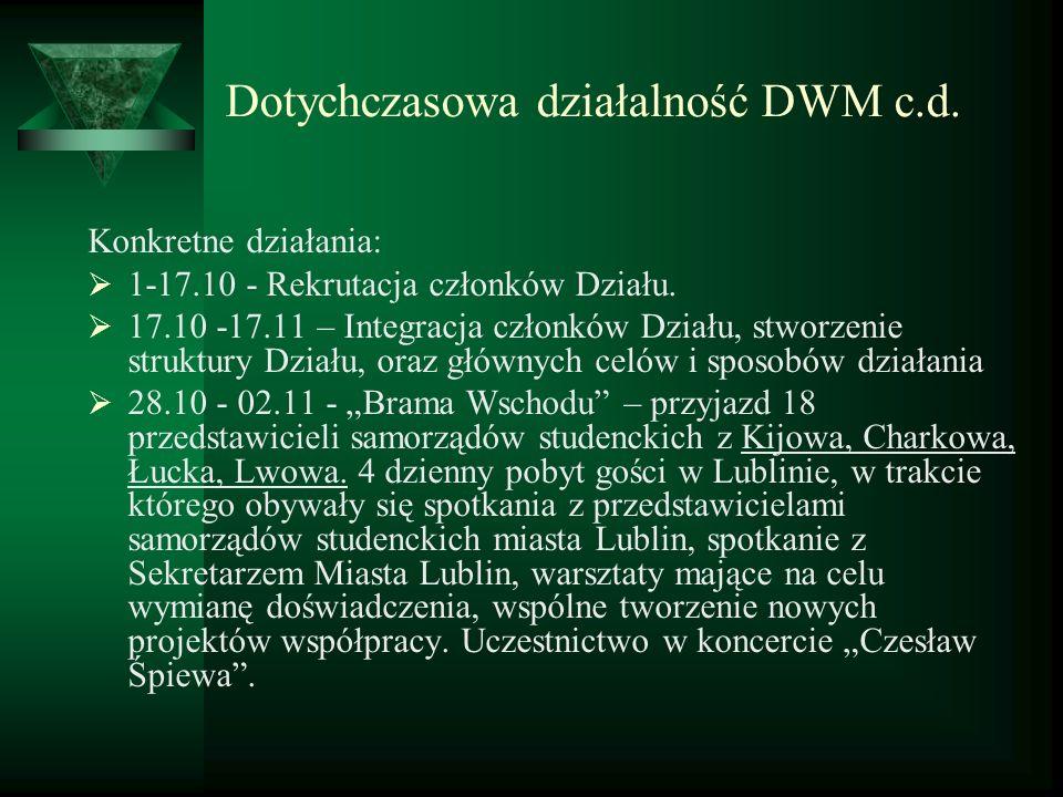 Dotychczasowa działalność DWM c.d. Konkretne działania: 1-17.10 - Rekrutacja członków Działu. 17.10 -17.11 – Integracja członków Działu, stworzenie st