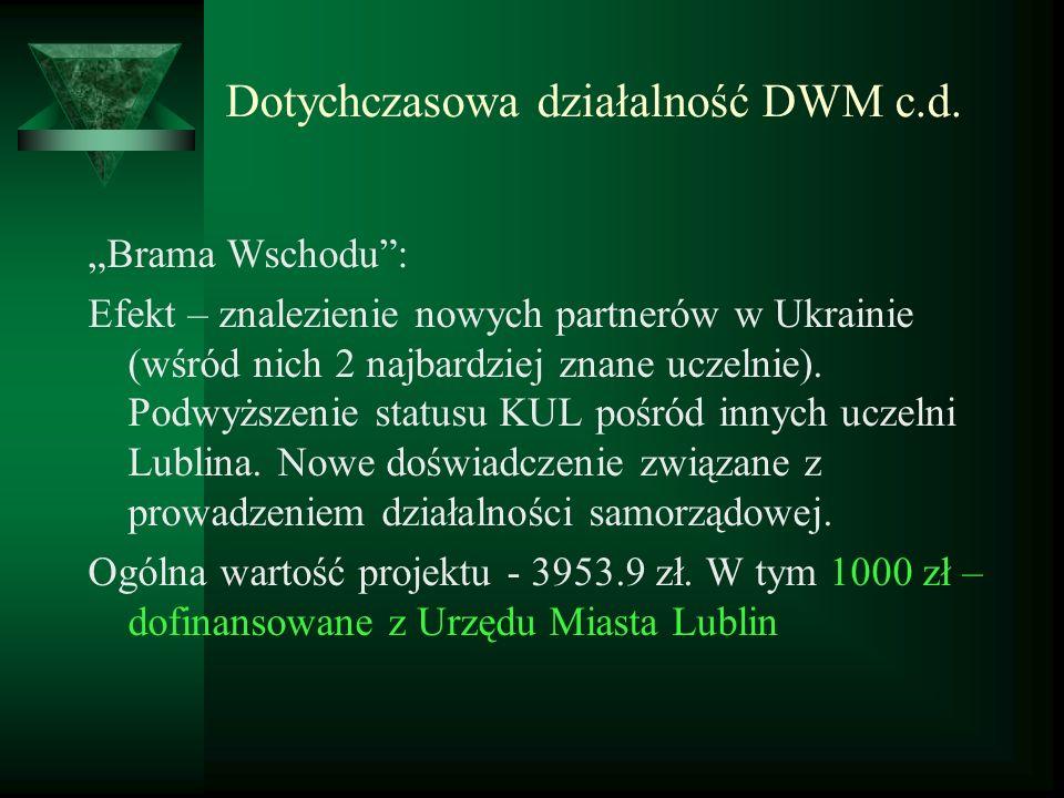 Dotychczasowa działalność DWM c.d. Brama Wschodu: Efekt – znalezienie nowych partnerów w Ukrainie (wśród nich 2 najbardziej znane uczelnie). Podwyższe