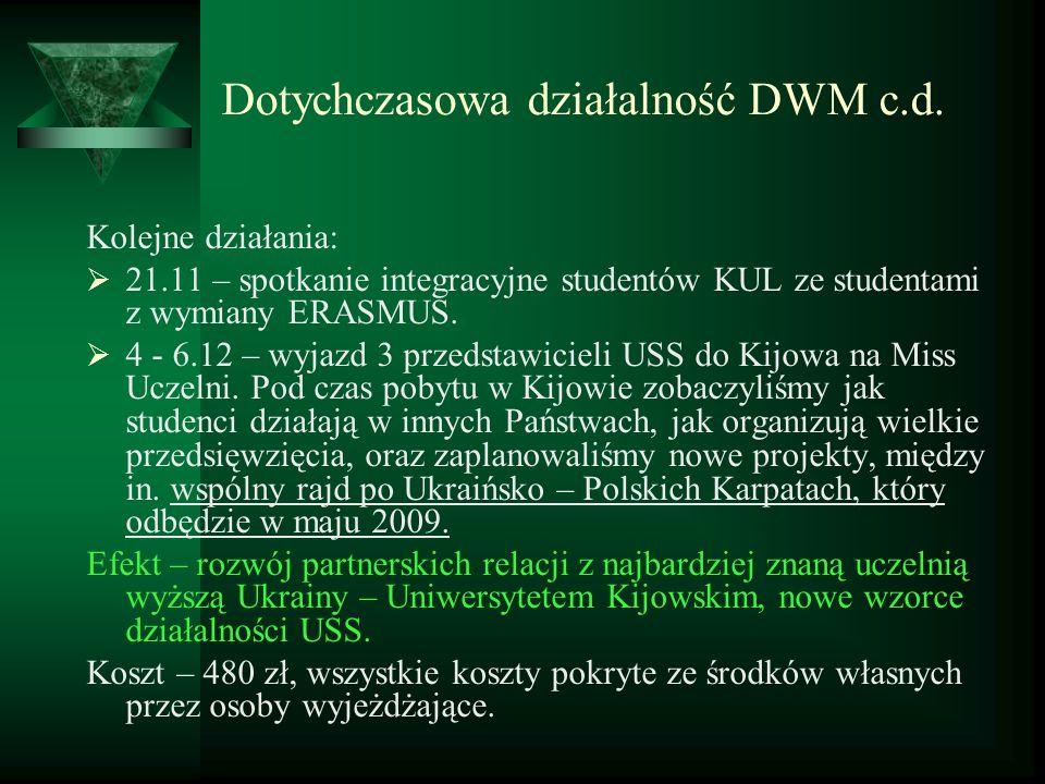 Dotychczasowa działalność DWM c.d. Kolejne działania: 21.11 – spotkanie integracyjne studentów KUL ze studentami z wymiany ERASMUS. 4 - 6.12 – wyjazd