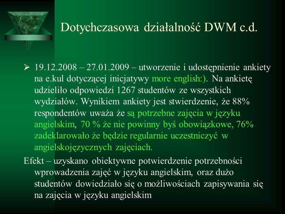 Dotychczasowa działalność DWM c.d. 19.12.2008 – 27.01.2009 – utworzenie i udostępnienie ankiety na e.kul dotyczącej inicjatywy more english:). Na anki
