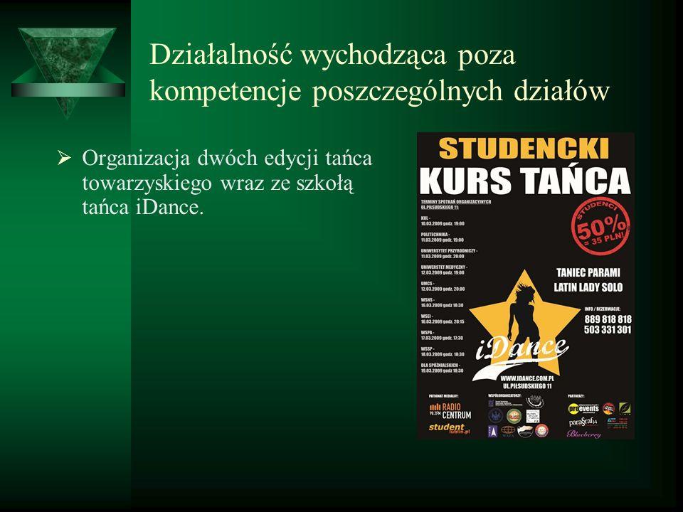 Działalność wychodząca poza kompetencje poszczególnych działów Organizacja dwóch edycji tańca towarzyskiego wraz ze szkołą tańca iDance.