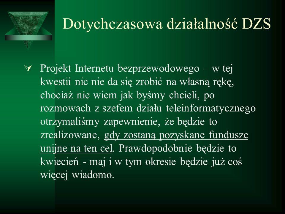 Dotychczasowa działalność DZS Projekt Internetu bezprzewodowego – w tej kwestii nic nie da się zrobić na własną rękę, chociaż nie wiem jak byśmy chcie