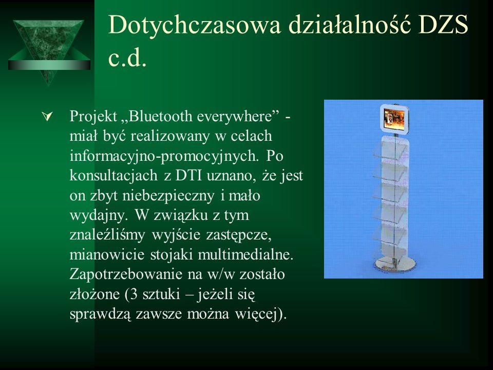 Dotychczasowa działalność DZS c.d. Projekt Bluetooth everywhere - miał być realizowany w celach informacyjno-promocyjnych. Po konsultacjach z DTI uzna
