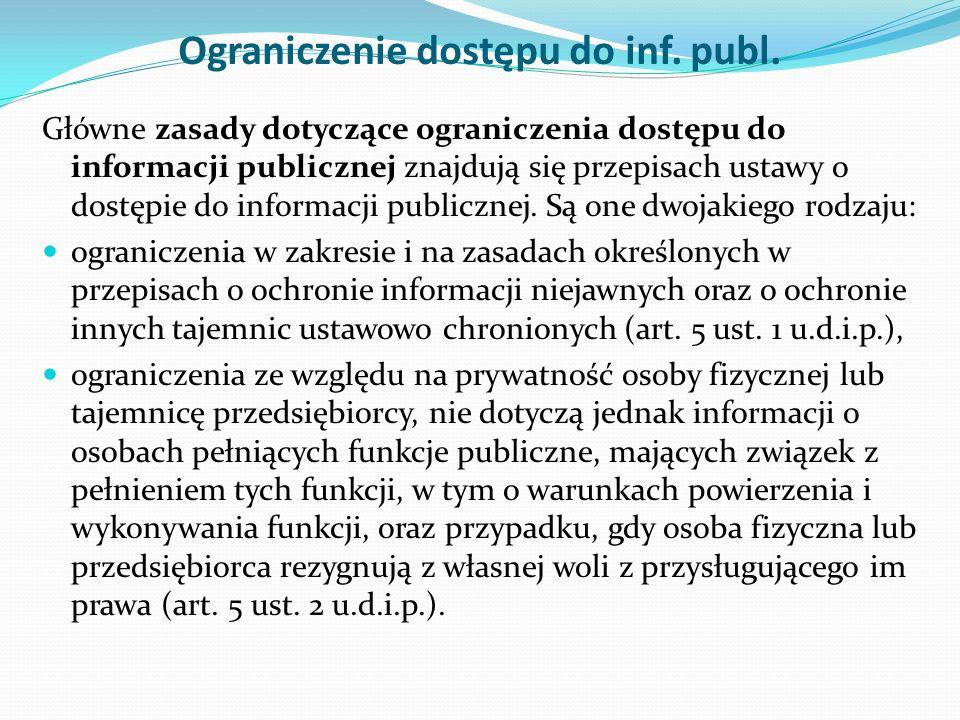 Ograniczenie dostępu do inf. publ.