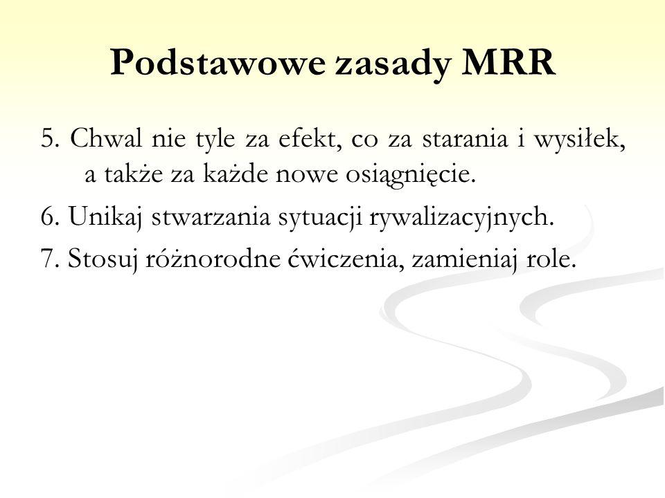 Podstawowe zasady MRR 5. Chwal nie tyle za efekt, co za starania i wysiłek, a także za każde nowe osiągnięcie. 6. Unikaj stwarzania sytuacji rywalizac