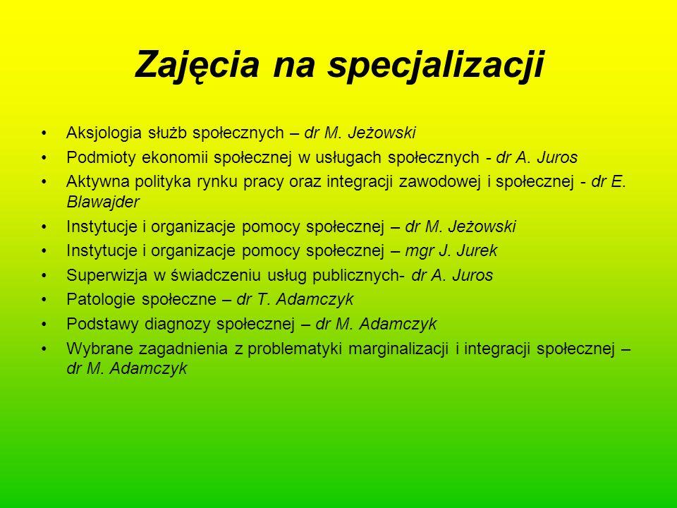 Zajęcia na specjalizacji Aksjologia służb społecznych – dr M. Jeżowski Podmioty ekonomii społecznej w usługach społecznych - dr A. Juros Aktywna polit
