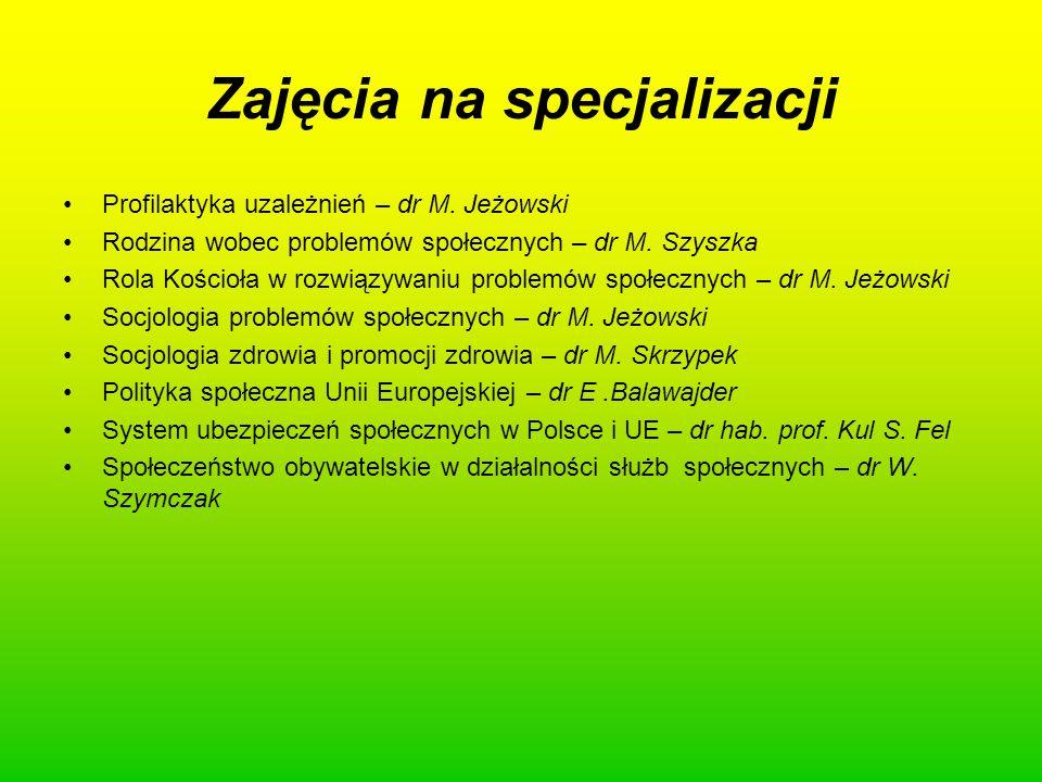 Zajęcia na specjalizacji Profilaktyka uzależnień – dr M. Jeżowski Rodzina wobec problemów społecznych – dr M. Szyszka Rola Kościoła w rozwiązywaniu pr