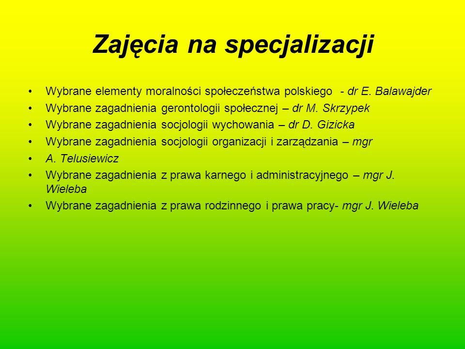 Zajęcia na specjalizacji Wybrane elementy moralności społeczeństwa polskiego - dr E. Balawajder Wybrane zagadnienia gerontologii społecznej – dr M. Sk