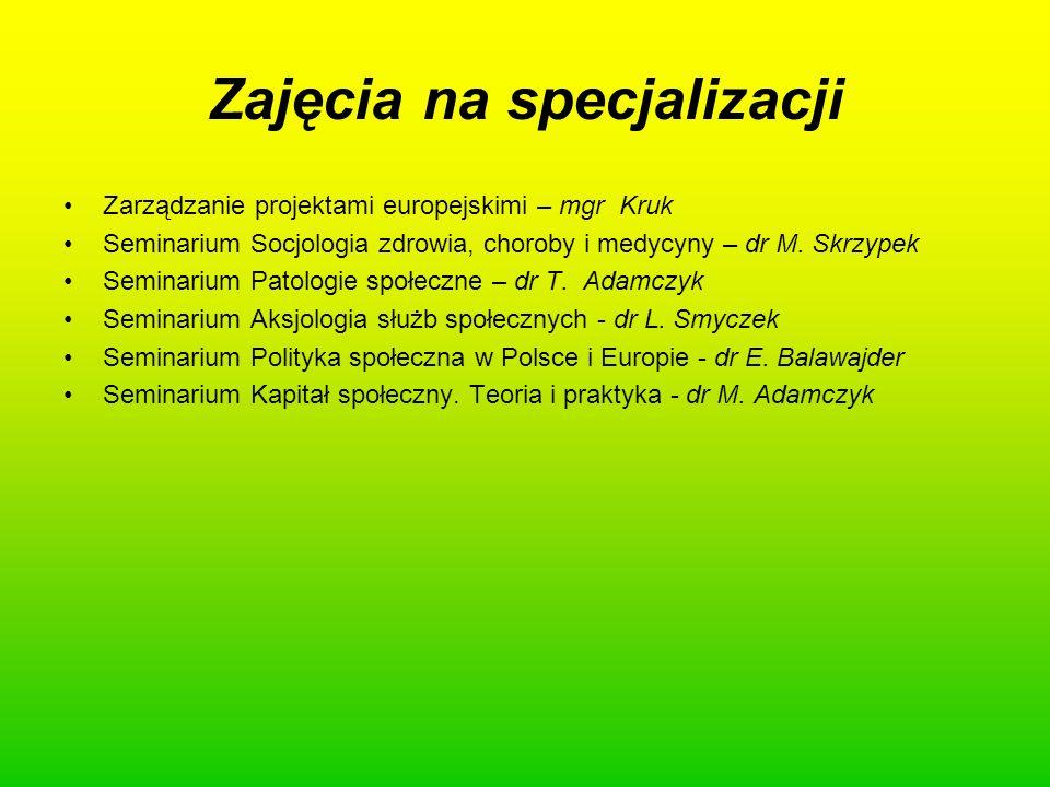 Zajęcia na specjalizacji Zarządzanie projektami europejskimi – mgr Kruk Seminarium Socjologia zdrowia, choroby i medycyny – dr M. Skrzypek Seminarium
