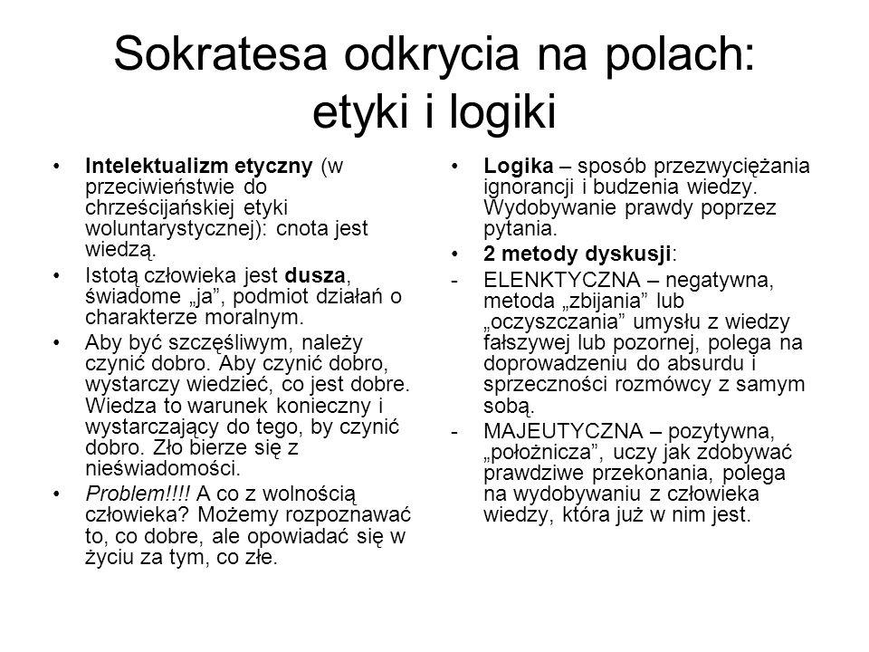 Sokratesa odkrycia na polach: etyki i logiki Intelektualizm etyczny (w przeciwieństwie do chrześcijańskiej etyki woluntarystycznej): cnota jest wiedzą