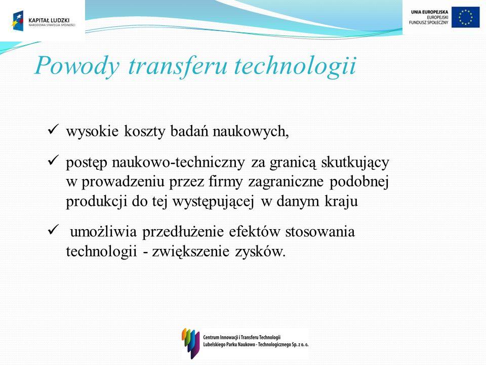 Powody transferu technologii wysokie koszty badań naukowych, postęp naukowo-techniczny za granicą skutkujący w prowadzeniu przez firmy zagraniczne pod