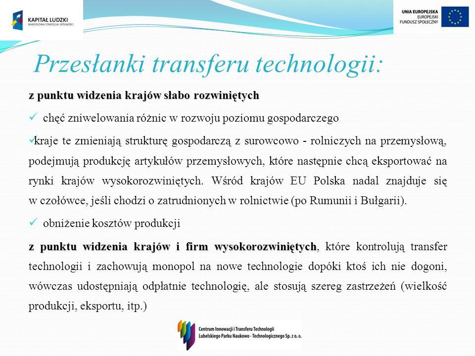 Przesłanki transferu technologii: z punktu widzenia krajów słabo rozwiniętych chęć zniwelowania różnic w rozwoju poziomu gospodarczego kraje te zmieni