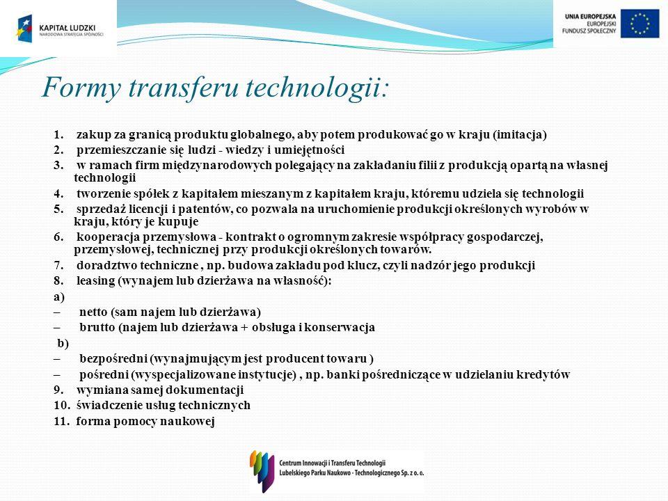 Formy transferu technologii: 1. zakup za granicą produktu globalnego, aby potem produkować go w kraju (imitacja) 2. przemieszczanie się ludzi - wiedzy