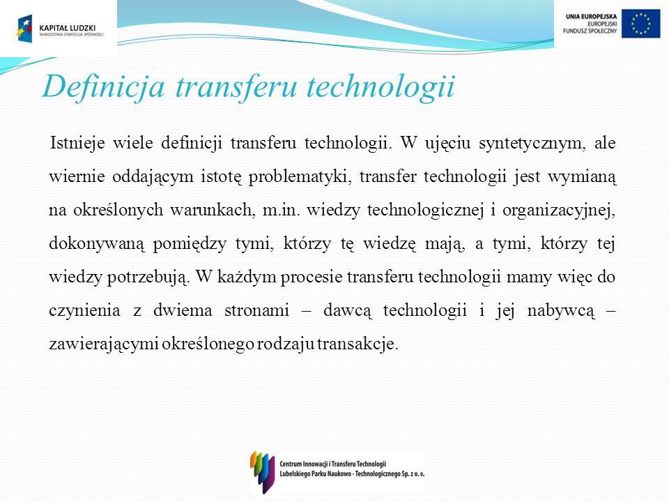 Definicja transferu technologii Istnieje wiele definicji transferu technologii. W ujęciu syntetycznym, ale wiernie oddającym istotę problematyki, tran