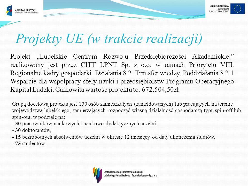 Projekty UE (w trakcie realizacji) Projekt Lubelskie Centrum Rozwoju Przedsiębiorczości Akademickiej realizowany jest przez CITT LPNT Sp. z o.o. w ram